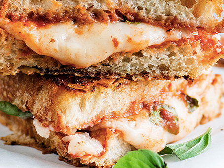 Think you can't have pizza once you go vegan?  This might be even better:  Pizza Grilled Cheese