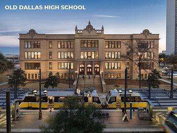 Old Dallas High School_Front w-DART Rail