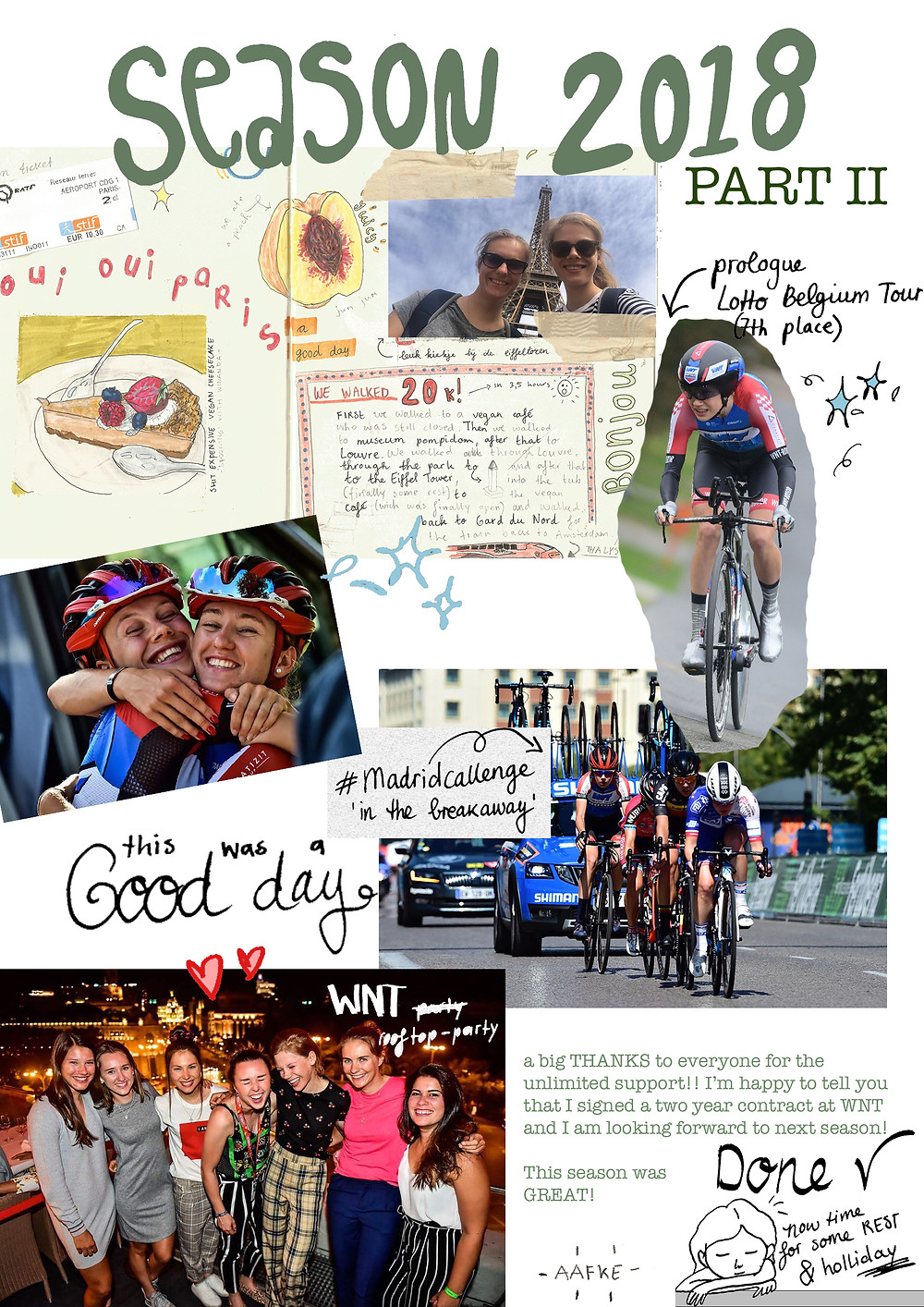 a scrapbook page from season 2018, part 2 from Aafke Soet cyclist for WNT-Rotor