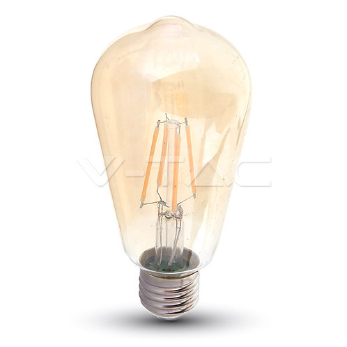 LED Bulb SAMSUNG Chip Filament 6W E27 ST64 Amber Cover 2200K