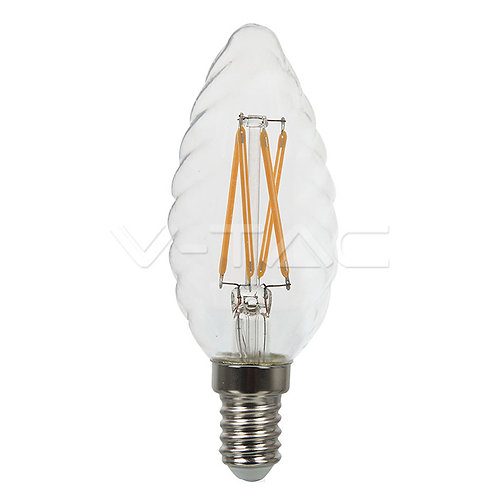 LED Bulb SAMSUNG Chip Filament 4W E14 Candle Twist Clear Cover 2700K