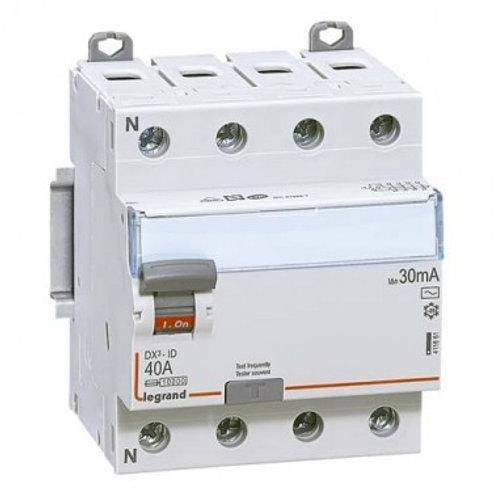 DX3 Interrupteur différentiel tétrapolaire 40A 30mA type AC 4 modules 400V - 411