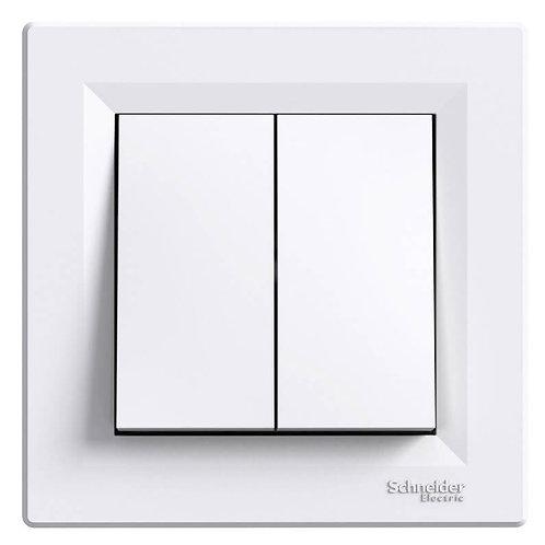 SCHNEIDER - Double interrupteur blanc ASFORA