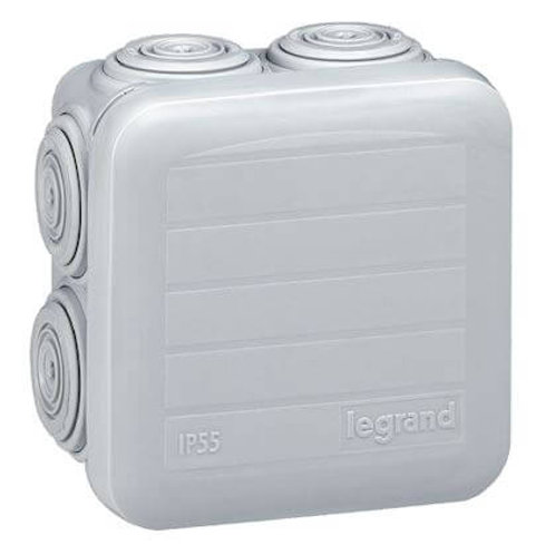 LEGRAND - Bte carrée 65x65x40 étanche plexo gris - embout (7) -ip55/ik07- 650°c