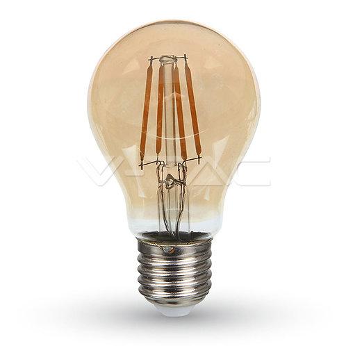 LED Bulb SAMSUNG Chip Filament 6W E27 A60 Amber Cover 2200K