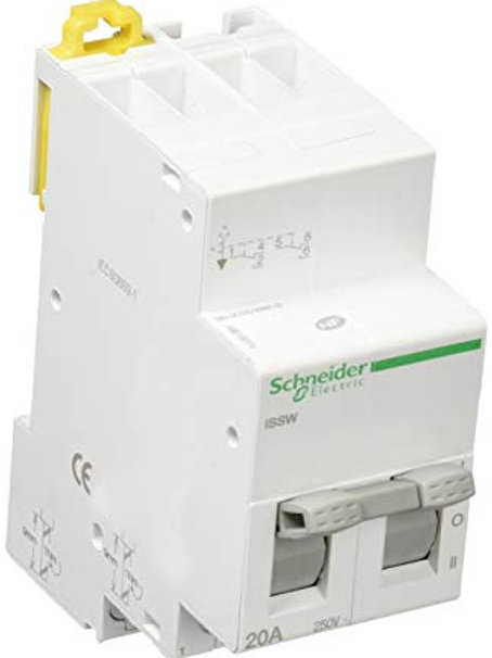 Commutateur, 3 positions, 2 contacts, inverseurs OF, Acti9, 20 A, 230V, Blanc
