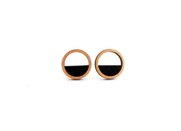 Oorbellen goud - zwart (EMO 401)