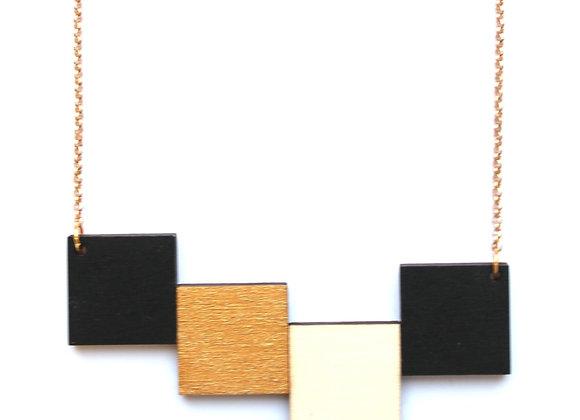 Ketting zwart - goud - beige (EMK 601)