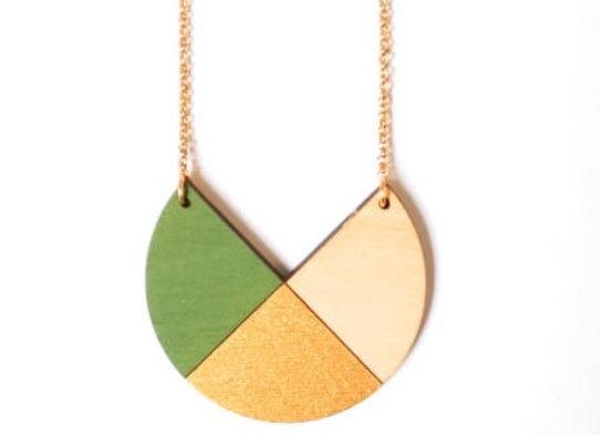 Ketting groen - goud - beige (EMK 001)