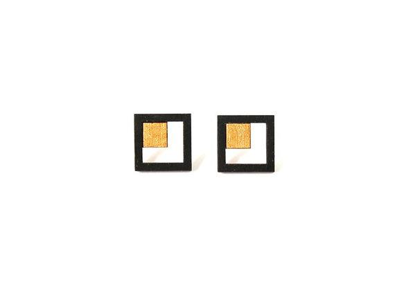 Oorbellen zwart - goud (EMO 301)