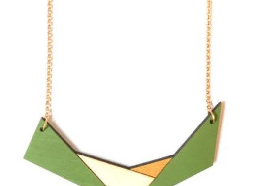 Ketting groen - beige - goud (EMK 501)