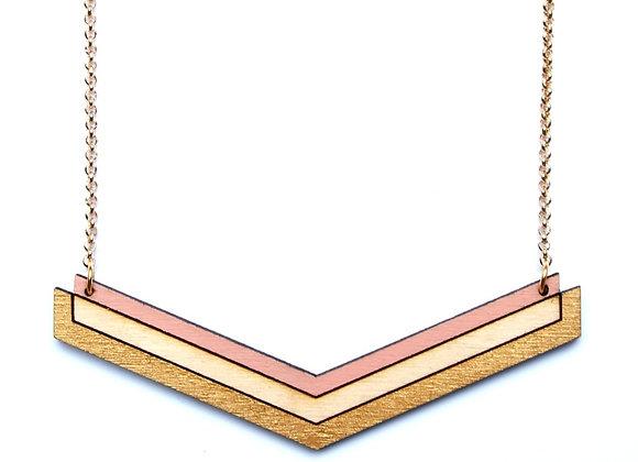 Ketting roos - wit - goud (EMK 401)
