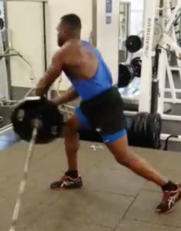 Loaded barbell twist Great core exercise and you can burn a lot of calories.