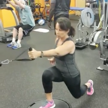 Lunge and step up to single leg balance and row Balance and stabilization on the BOSU while working the legs, the glutes and the back