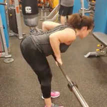 Barbell Romanian dead lift and row combo Works the hamstring, the glutes, the lower back and the upper back and the core for stabilization.