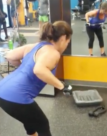 Cable bent over row back and stabilization exercise.
