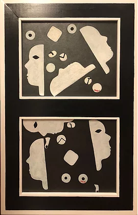Faces I and II Framed