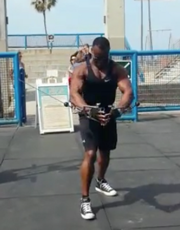 """Stepping in the footsteps of the legends! A dream come true for a fitness passionate. I dreamed of Muscle beach in Los Angeles Ca. i first saw it in """"Iron pumping"""" with Schwarzenegger and other legends way back and far away in Africa.. I had to go there."""