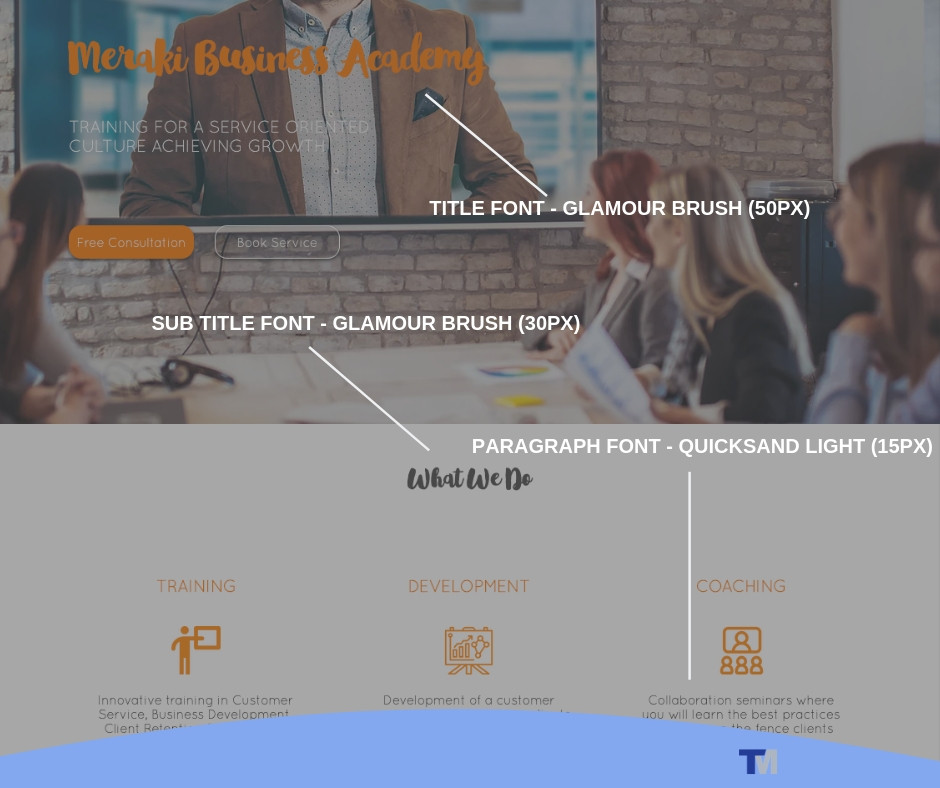 Example of cohesive typography in modern website design