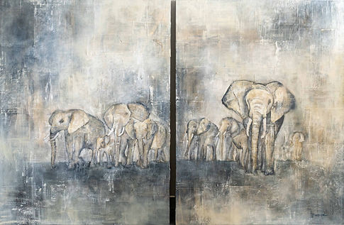 painting, elephants