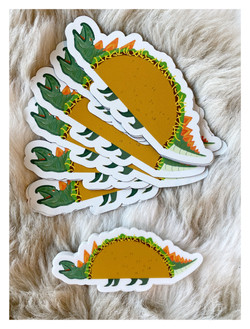 """""""Tacosaurus"""" Stickers and Magnets"""
