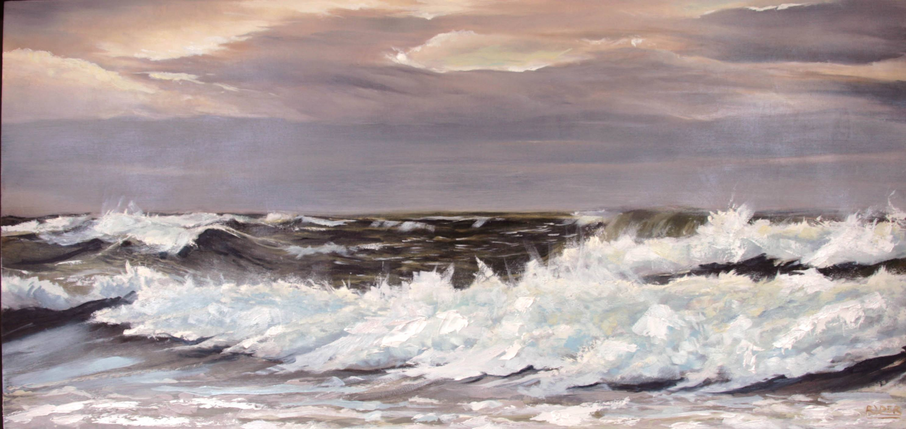 Rolling Waves - Oil on Wood