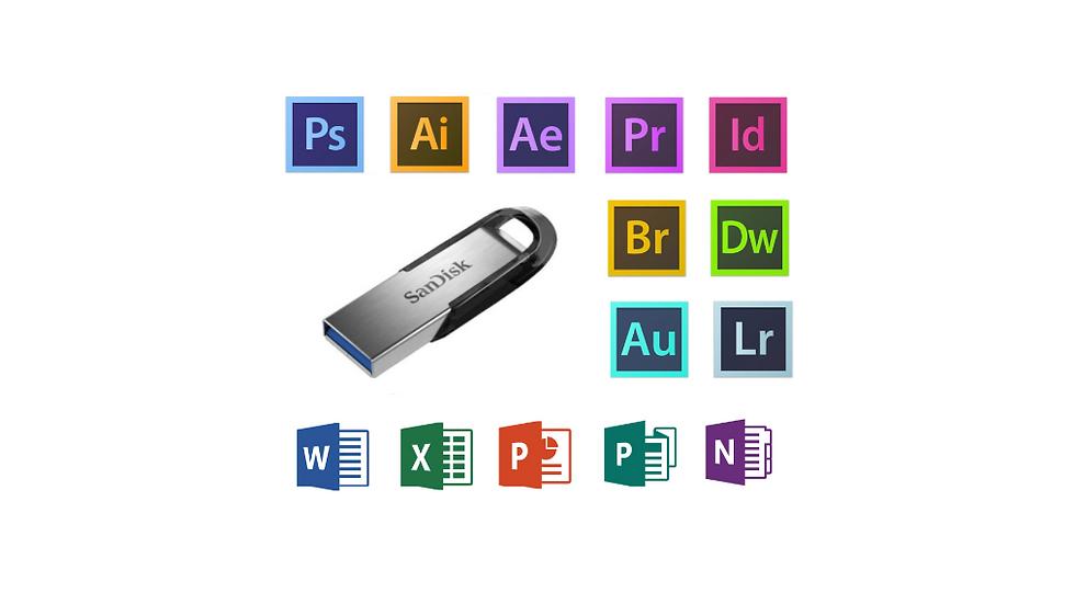 Adobe Software - 128GB External USB Drive
