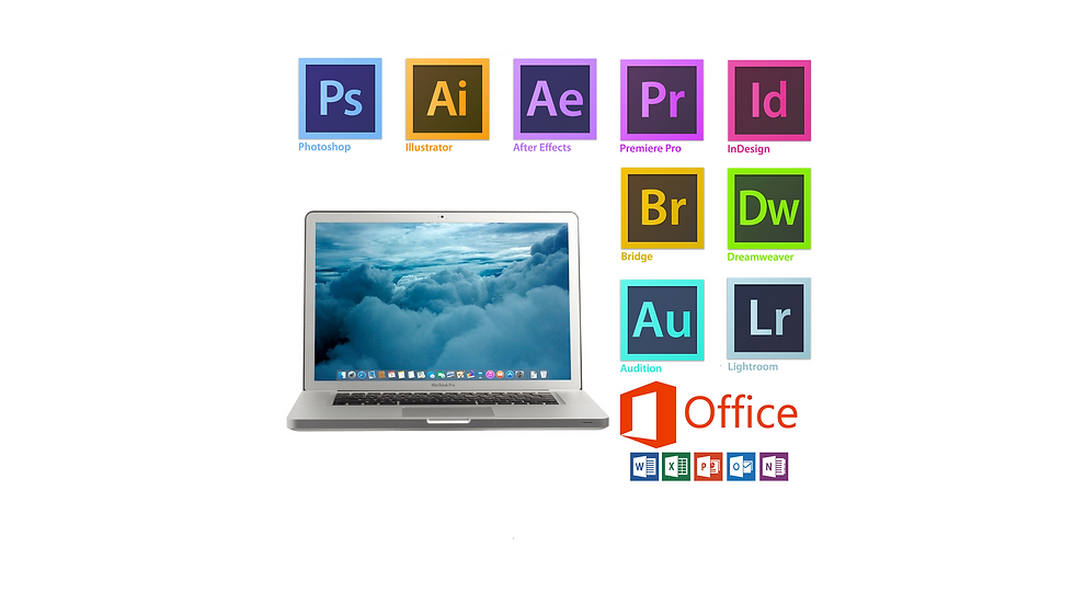Apple Macbook Pro 15 with Photoshop,Illustrator,Lightroom,InDesign,Acrobat,Dreamweaver,premiere pro, After effect, MSoffice16