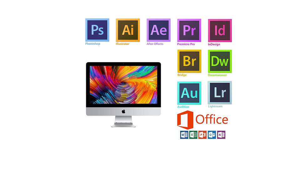 Apple iMac 21.5 with Photoshop,Illustrator,Lightroom,InDesign,Acrobat,Dreamweaver,premiere pro, After effect, MSoffice16