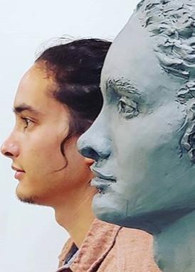 Wyatt, live model portrait in clay, 12_x