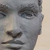 Wyatt, front view, life portrait in clay