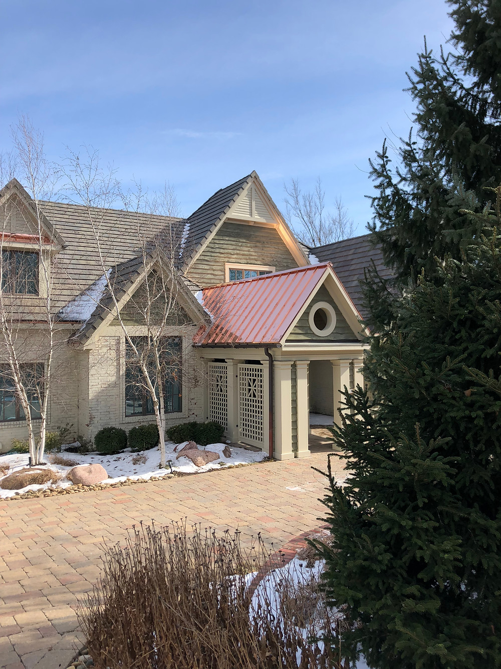 Tile Roof with Copper Accent Roof