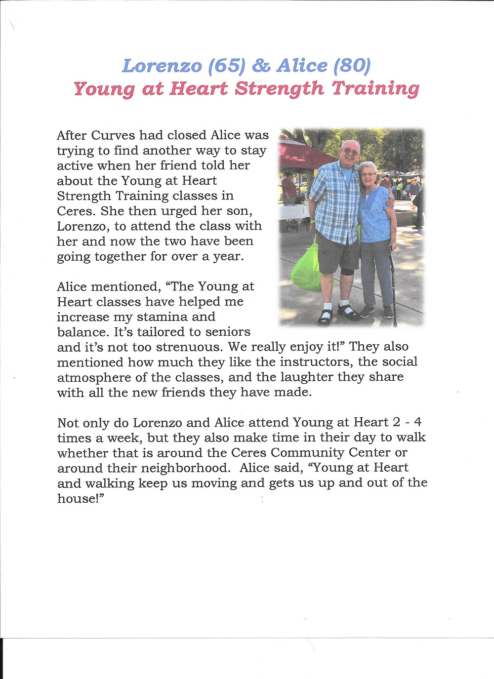 Story how the Young At Heart Program is Helping People