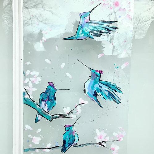 Humming Birds & Blossom Window Art on Acetate