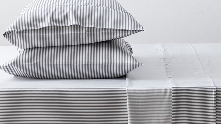 Charcoal Striped Island Bamboo Sheet Set