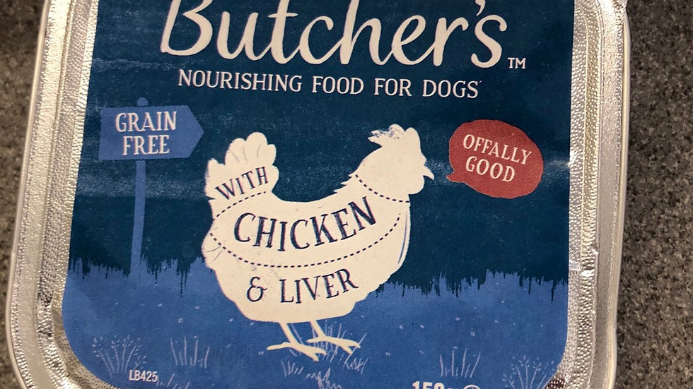 Butchers dog trays chicken and liver