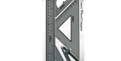 4 piece geometry ruler set with compass