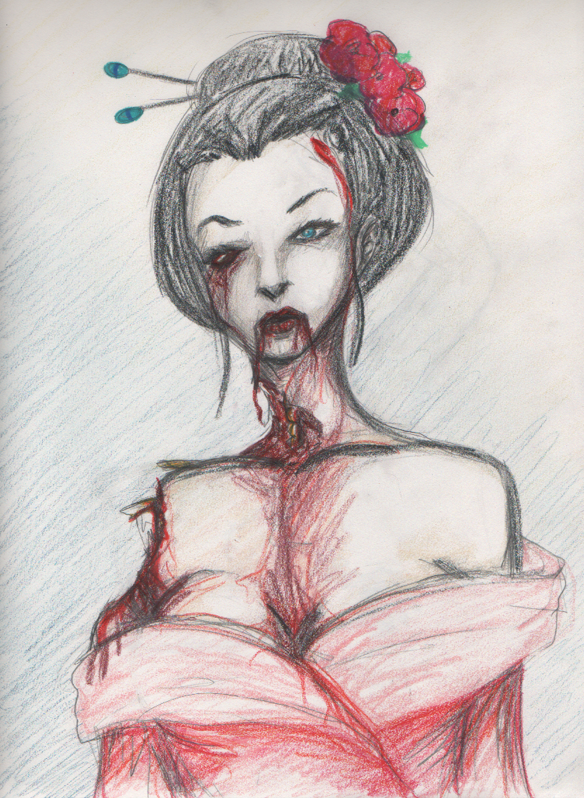 Geisha Zombie  - Colored Pencil