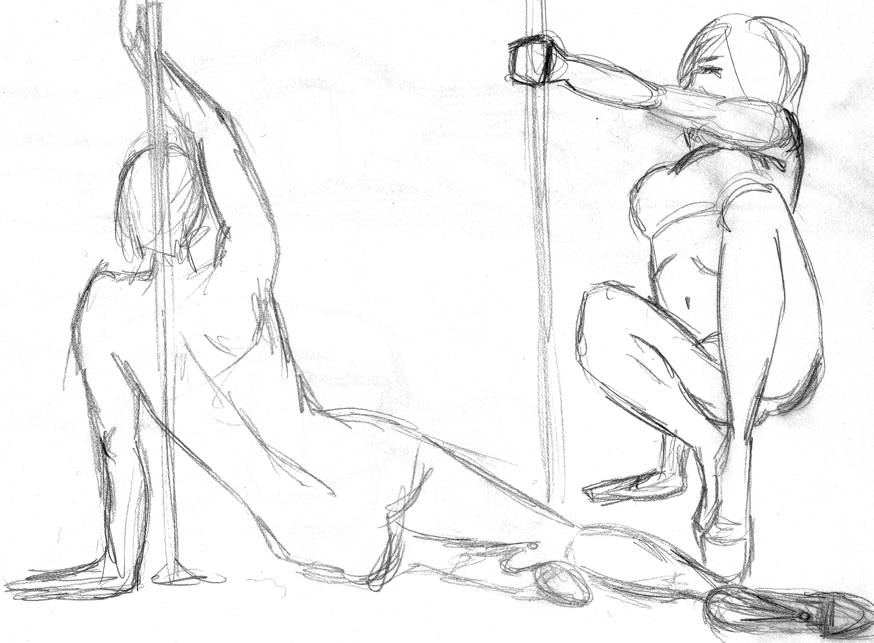 Pole Dance - Pencil Sketch