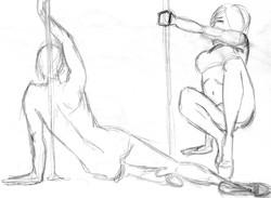 Pole Dance - Pencil Sketch