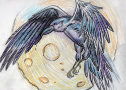 Raven and Moon - Colored Pencil