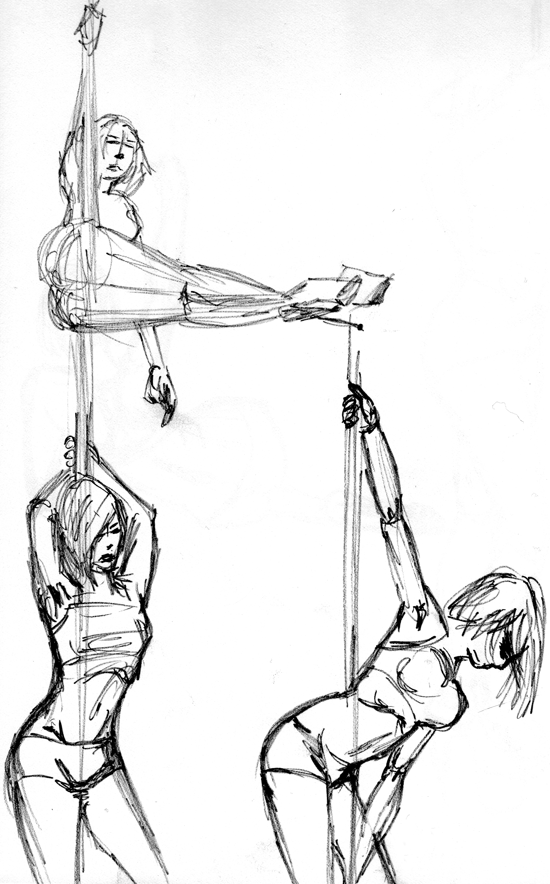Pole Dancers - Marker Sketch
