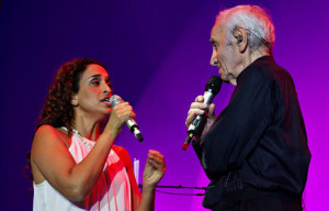Aznavour and Noa in concert in Tel Aviv