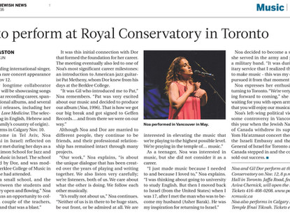 Noa at the Royal Conservatory in Toronto – CJN Newspaper