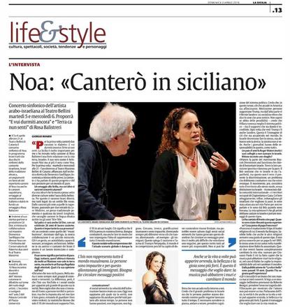 Noa in La Sicilia Newspaper – Apr. 2016