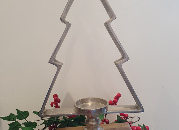 Silver Christmas Tree Candle Holder