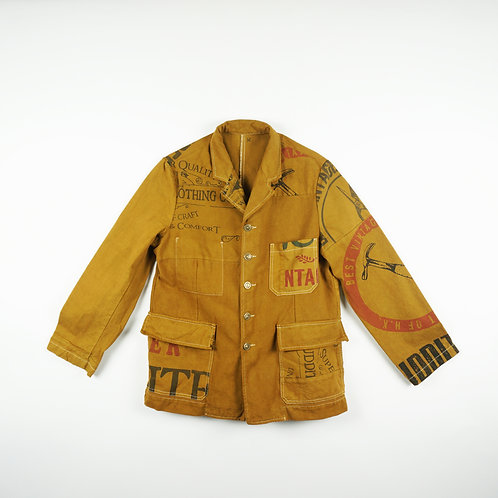 "Luddite ""Oath of Worker"" Patched Cotton Worker Jacket (OCHER)"
