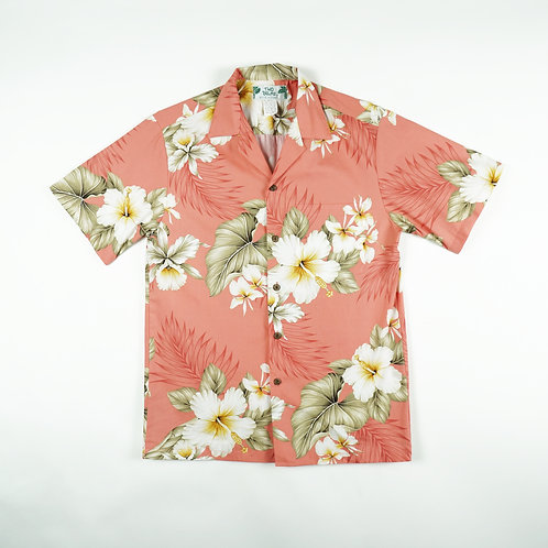 Two Palms Aloha Shirt - Hibiscus Trend Coral
