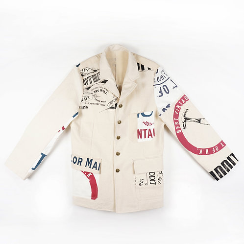 """Luddite """"Oath of Worker"""" Patched Cotton Worker Jacket (WHITE)"""