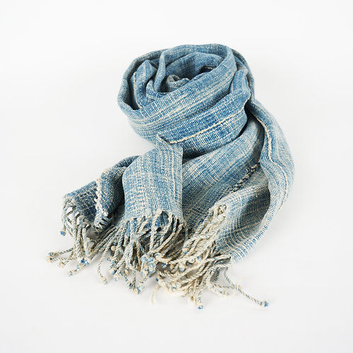 Mali Indigo dye Scarf light blue
